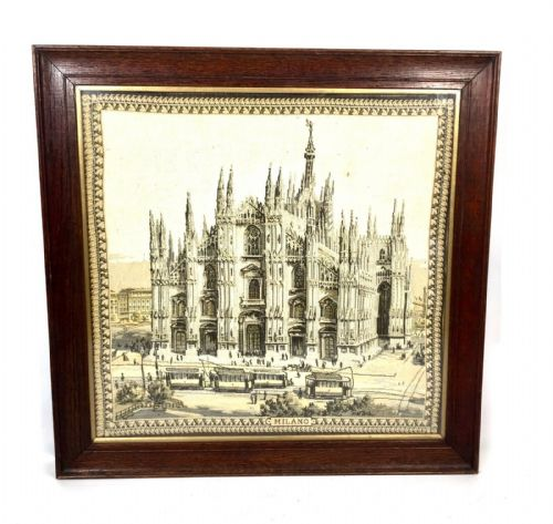 Antique Tapestry / Silk Picture of Duomo di Milano / Milan Cathedral Oak Framed